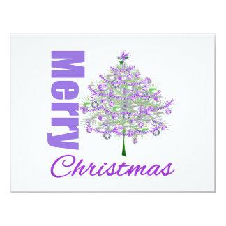 Merry Christmas Purple Theme Christmas Tree Custom Invites