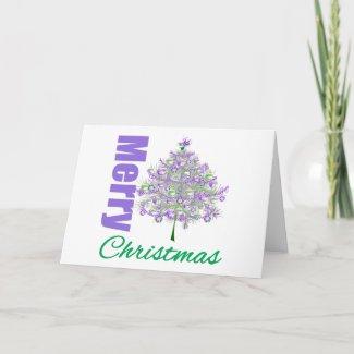 Merry Christmas Purple Theme Christmas Tree v2 card