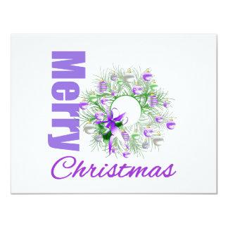 Merry Christmas Purple Theme Garden Wreath Personalized Invitation