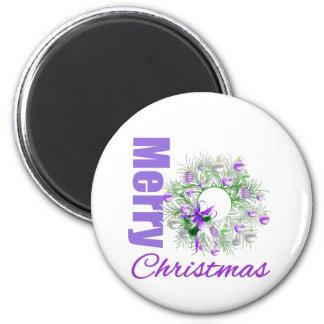Merry Christmas Purple Theme Garden Wreath Refrigerator Magnet
