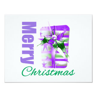 Merry Christmas Purple Theme Giftbox Custom Invitations