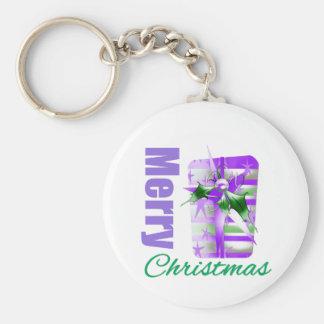Merry Christmas Purple Theme Giftbox Basic Round Button Keychain