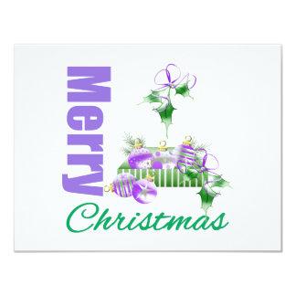 Merry Christmas Purple Theme Ornament Box Holly Invites