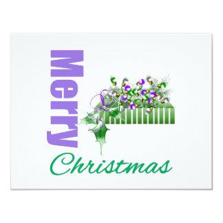 Merry Christmas Purple Theme Ornament Box Announcements