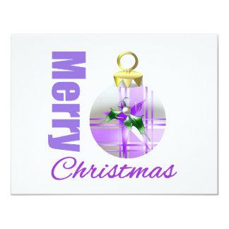 Merry Christmas Purple Theme Ornament Bulb Announcement