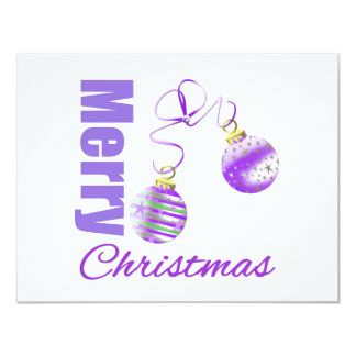 Merry Christmas Purple Theme Ornaments Personalized Invite