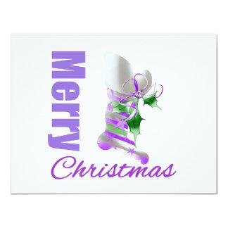 Merry Christmas Purple Theme Stocking Custom Announcements