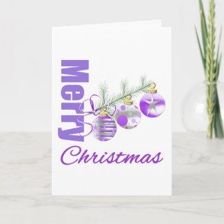 Merry Christmas Purple Theme Trio Ornaments card