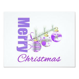 Merry Christmas Purple Theme Trio Ornaments Personalized Invites
