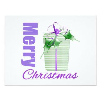 Merry Christmas Purple Theme Whimsical Gift Box Custom Announcement