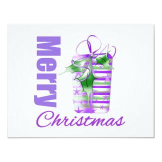 Merry Christmas Purple Theme Whimsical Gift Box v2 Invite