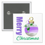 Merry Christmas Purple Themed Whimsical Ornament Button