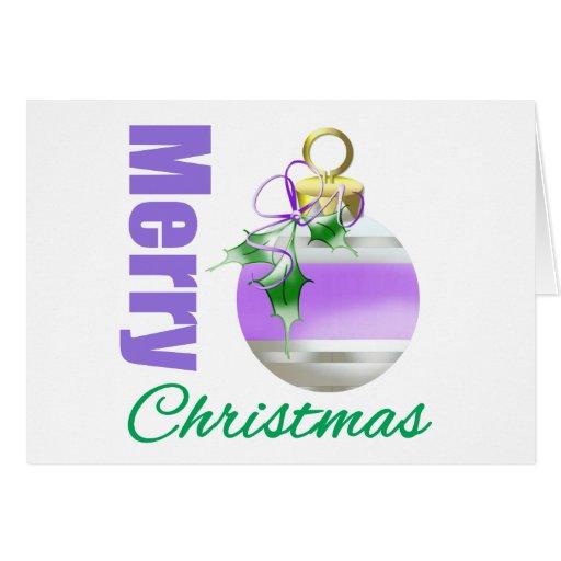 Merry Christmas Purple Themed Whimsical Ornament Card