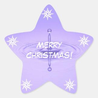 Merry Christmas Purple White Water Drip Ocean Star Sticker