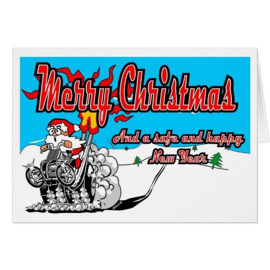 Merry Christmas Quad Snow Bike Santa! Card