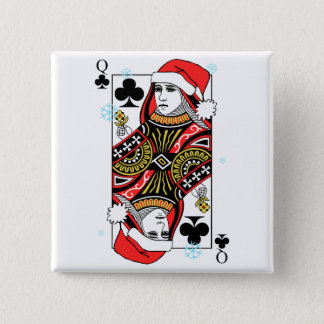 Merry Christmas Queen of Clubs Button