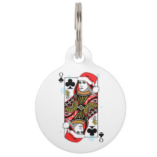 Merry Christmas Queen of Clubs Pet ID Tag