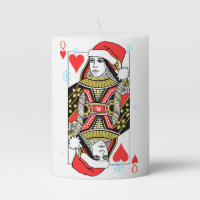Merry Christmas Queen of Hearts Pillar Candle
