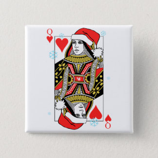 Merry Christmas Queen of Hearts Pinback Button