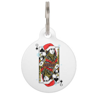 Merry Christmas Queen of Spades Pet ID Tag