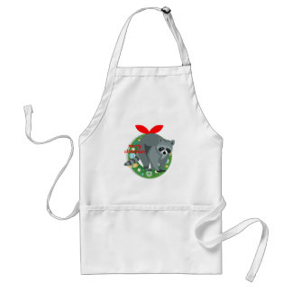 merry christmas raccoon adult apron