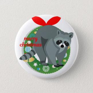 merry christmas raccoon pinback button