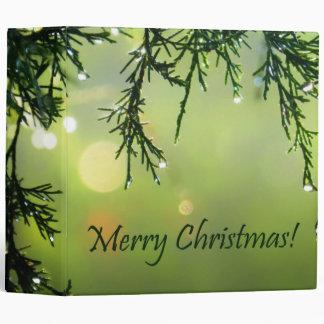 Merry Christmas Raindrops on Evergreen Tree Binder