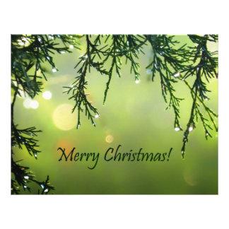 Merry Christmas Raindrops on Evergreen Tree Flyer
