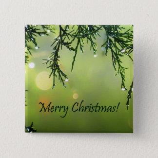 Merry Christmas Raindrops on Evergreen Tree Pinback Button