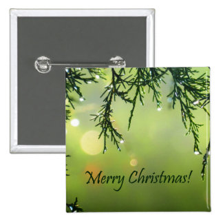 Merry Christmas Raindrops on Evergreen Tree Pinback Button