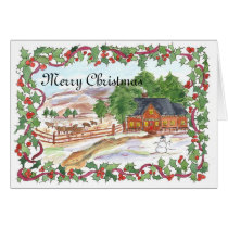 Merry Christmas Ranch House Watercolor Card