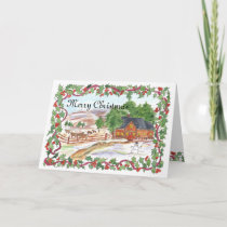 Merry Christmas Ranch House Watercolor Holiday Card
