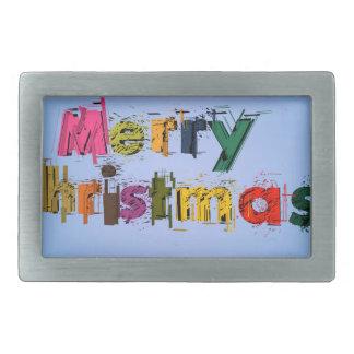 Merry Christmas Rectangular Belt Buckle