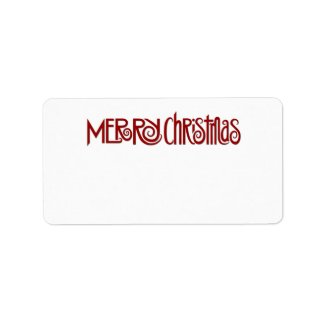Merry Christmas red Address Label label