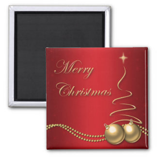 Merry Christmas Red and Gold Tree & Baubles Magnet