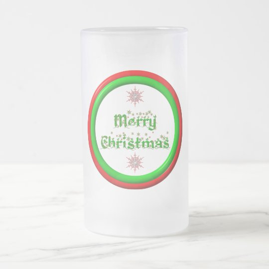 Merry Christmas - red and green 3-D look Frosted Glass Beer Mug
