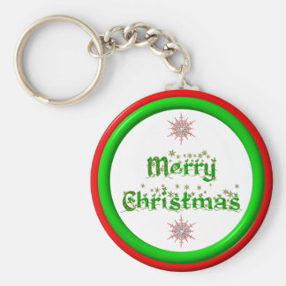 Merry Christmas - red and green 3-D look Keychain