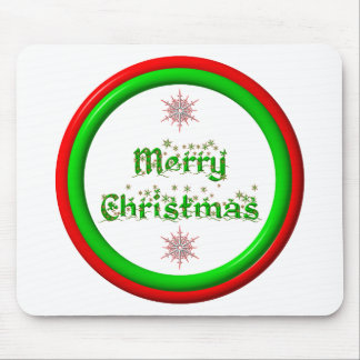 Merry Christmas - red and green 3-D look Mouse Pad