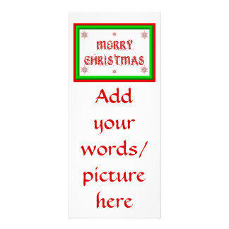 Merry Christmas - red and green 3-D look Rack Card