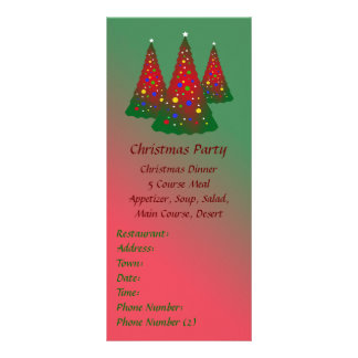 Merry Christmas Red and Green Christmas Tree Full Color Rack Card