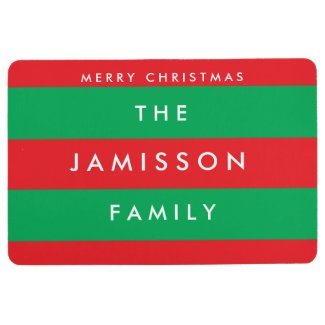 Merry Christmas Red and Green Custom Floor Mat