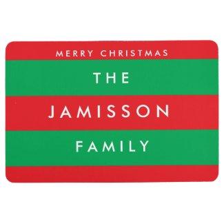 Merry Christmas Red and Green Custom Floor Mat