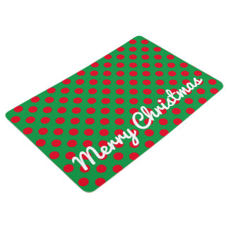 Merry Christmas Red and Green Polka Dots Floor Mat