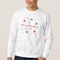Merry Christmas Red And Green Star Blizzard Sweatshirt
