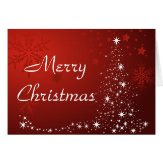 Merry Christmas Red and White Personalized Card