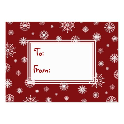 Merry Christmas Red and White Snowflakes Gift Tags Business Cards