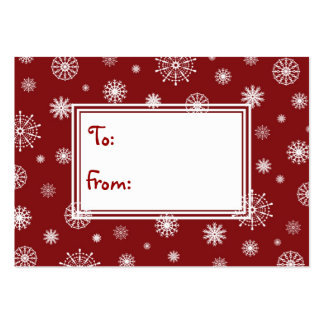 Merry Christmas Red and White Snowflakes Gift Tags Large Business Card