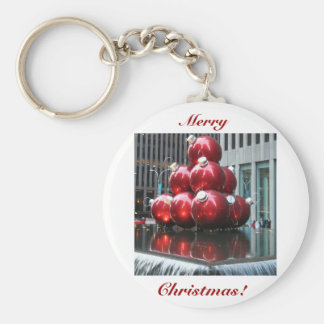 Merry Christmas!  Red Balls Basic Round Button Keychain