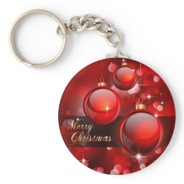 Christmas Themed Merry Christmas Red Baubles Keychain