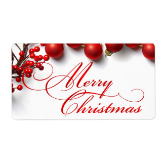 Merry Christmas Red Berries & Ornaments Label